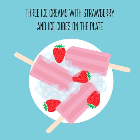cubos de hielo: Paletas de hielo helados con la fresa y cubitos de hielo Vectores