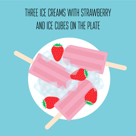 Ice creams popsicles with strawberry and ice cubes Illustration