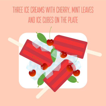 fruit plate: Ice creams popsicles with cherry, mint leaves and ice cubes Illustration