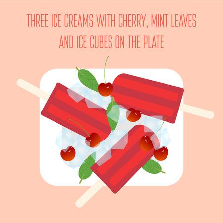 cubos de hielo: Paletas de hielo helados con cherry, hojas de menta y cubitos de hielo