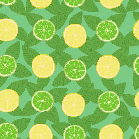 lemon lime: Limone, lime e foglie di menta modello senza saldatura Vettoriali