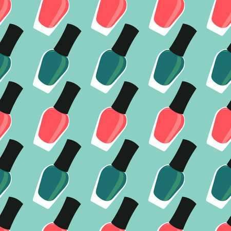 nail polish bottle: Red and green nail lacquer or nail polish seamless pattern Illustration