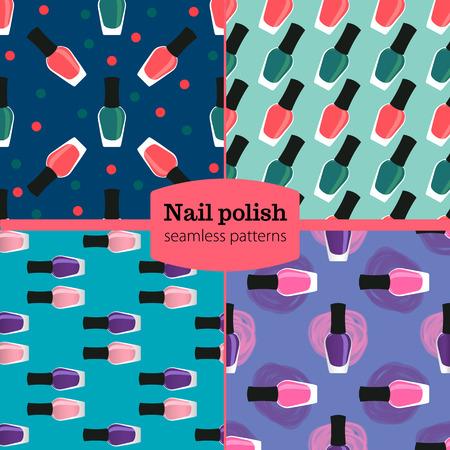 nail lacquer: Nail lacquer or nail seamless patterns set