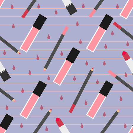 gloss: Lip make-up seamless pattern. Pink lip gloss, red lipstick with lip pencils with gloss drops at a background