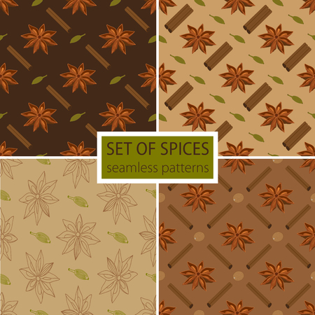 anise: Set of four spicy seamless patterns. Star anise with cardamom, cinnamon sticks and nutmeg.
