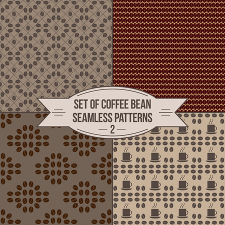 coffee background: Decorative coffee bean seamless patterns set. Set of four seamless coffee bean patterns for any use.
