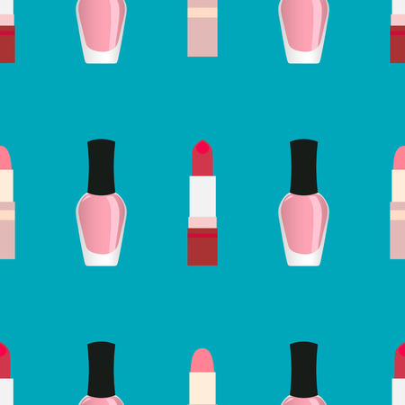 lip stick: Lipsticks with nail polish seamless pattern. Red and light pink lipsticks and light pink nail polish at a blue background Illustration