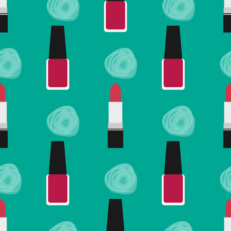 lip stick: Lipstick with nail polish seamless pattern. Red lipstick and red nail polish at a green background with decorative spots