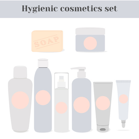 cosmetics products: Hygienic cosmetics set. Illustration of health and beauty aids - micellar lotion, emulsion, make-up remover, shampoo, shower gel or liquid soap, cosmetic creams, soap
