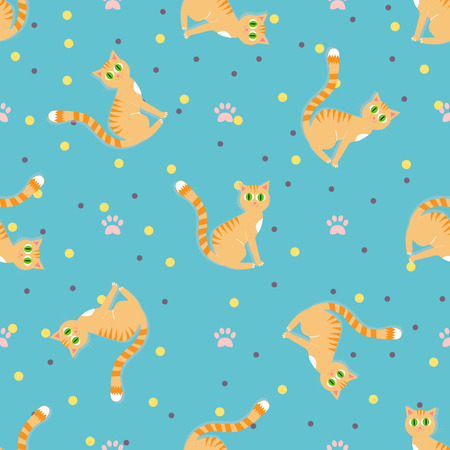 gracious: Red cats seamless pattern. Sitting red cat on a blue background with paw print