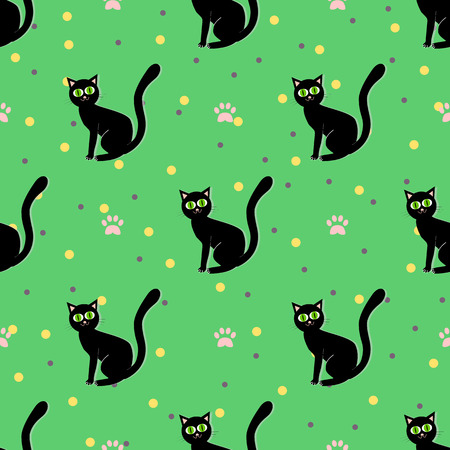 gracious: Black cats seamless pattern. Sitting black cat on a green background with paw print