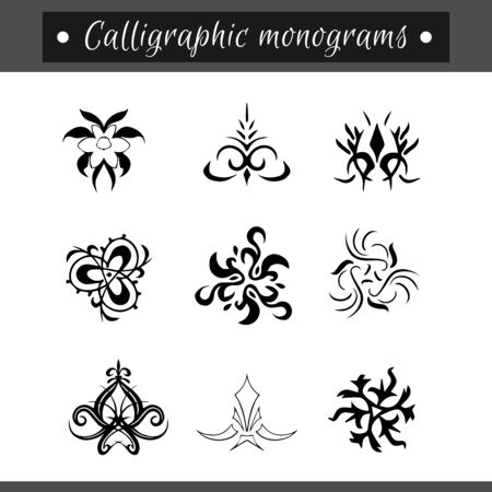 calligraphical: Calligraphical monograms set. Vintage decorative elements for your book, restaurant menu, invitations etc.