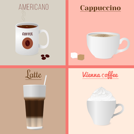 brown sugar: Four cups of coffee set. Illustration of four cups of coffee - cappuccino, americano, latte and Vienna coffee. Isolated vector illustration for your design