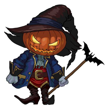 samhain: Halloween character Jack-o-lantern in a hat and carnival medieval costume. Vector isolated Jack-o-lantern character for your design