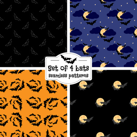 samhain: Set of four bats seamless patterns. Halloween patterns collection. Black bats against the moon in the sky.