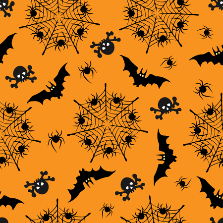spider: Halloween seamless pattern. Illustrations of silhouettes of bats, skulls, webs with spiders.