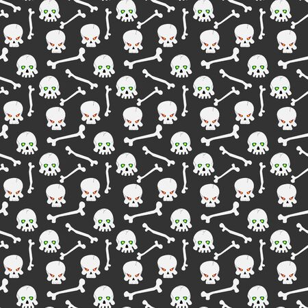 ominous: Seamless pattern with ominous skulls with the burning eye-sockets and bones