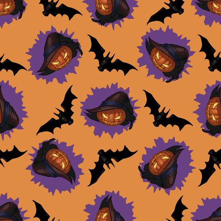Seamless pattern with Halloween Jack-lantern and hat and bats