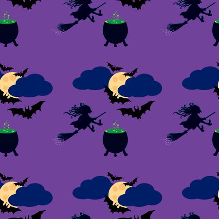czarownica: Czarownica i księżyc szwu. Ilustracja czarownica na miotle, kocioł z eliksirem, latające nietoperze na niebie, księżyc w pełni w chmurach.