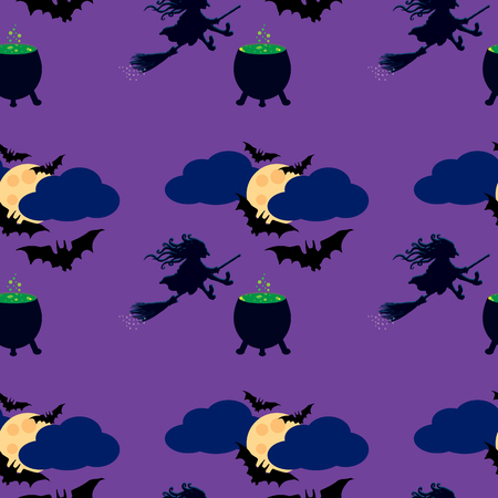 samhain: Witch and moon seamless pattern. Illustration of the witch on a broom, cauldron with a potion, flying bats in the sky, full moon in clouds.
