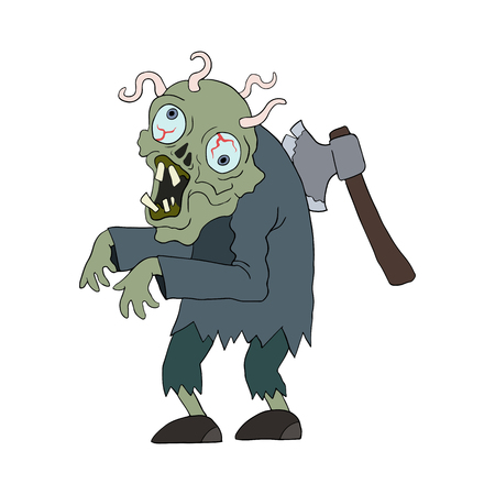 living skull: Zombie man cartoon character. Zombie with axe in his back and worms in brain. Vector isolated Illustration.