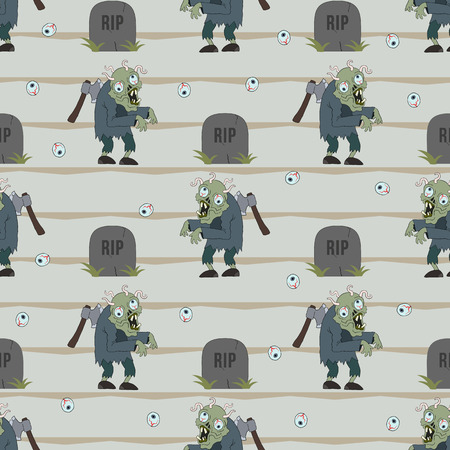 reanimated: Zombie seamless pattern. Vector illustration of zombie man cartoon character. Zombie with axe in his back and worms in brain. Illustration