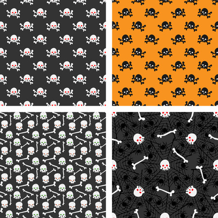 ominous: Set of seamless patterns with skulls. Set of seamless patterns with skulls. Illustration of ominous skulls with shining and burning eye-sockets and bones.