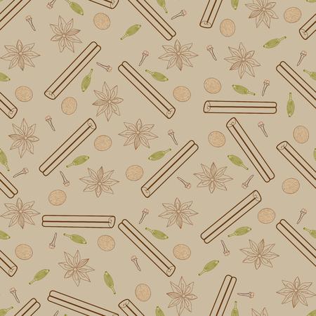 clous de girofle: Contour seamless �pic�e. Illustrations de b�ton de cannelle, clous de girofle, noix de muscade, l'anis �toil� et la cardamome