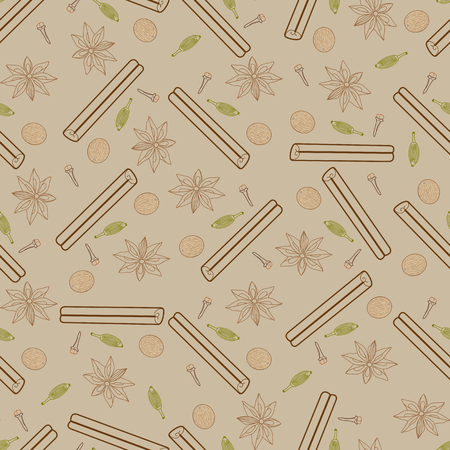 anise: Contour spicy seamless pattern. Illustrations of cinnamon stick, cloves, nutmeg, star anise and cardamom Illustration