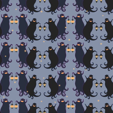 Ghosts party seamless pattern 4. Vector illustration of two dancing funny ghosts with small lanterns in hands. Illustration