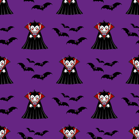 flying bats: Vampire seamless pattern. Vampire man cartoon character in a predatory pose with flying bats Illustration