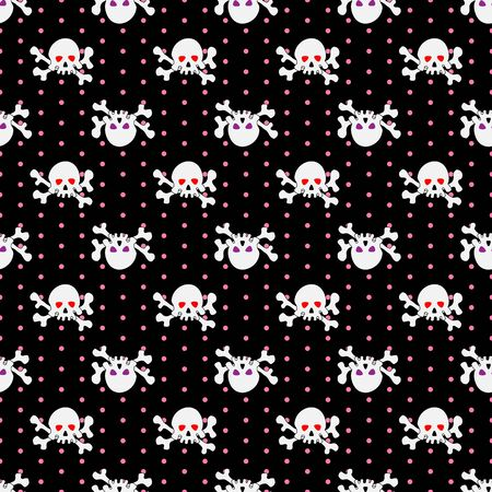 Skulls seamless pattern. Illustration of skulls with shining eye-sockets and crossbones on dark dotted background.