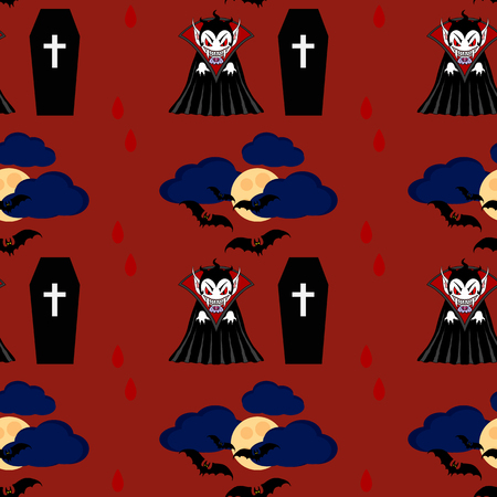 cartoon vampire: Vampire seamless pattern 2. Vampire man cartoon character in a predatory pose with coffin and flying bats in the sky Illustration