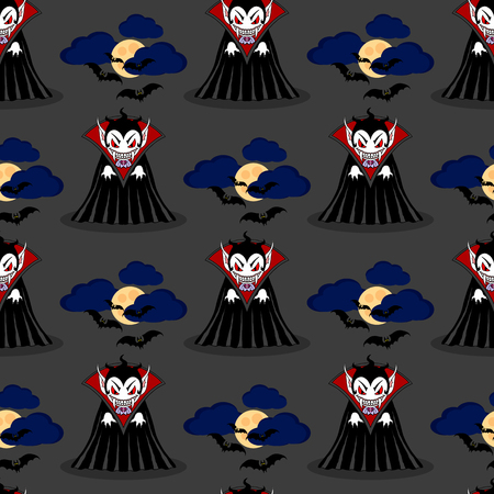 Vampire seamless pattern 3. Vampire man cartoon character in a predatory pose with flying bats in the sky