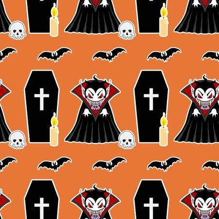 flying coffin: Vampire seamless pattern 4. Vampire man cartoon character in a predatory pose with coffin, flying bats, candle and skull Illustration