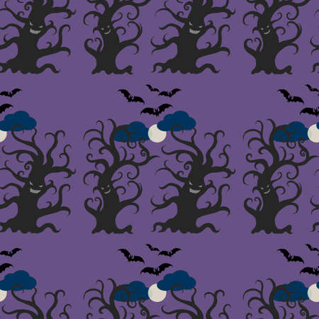 flying bats: Night dark trees seamless pattern. Dancing and smiling fantasy trees with full moon and flying bats. Halloween seamless pattern.