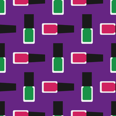 inclination: Nail polish seamless pattern 3. Green and crimson nail polishes or nail lacquers on a purple background.