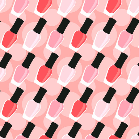glitter makeup: Light pink, pink and red nail lacquers or nail polishes in seamless pattern with circles background