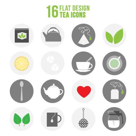 Flat colorful design tea icons set. Illustration of colorful set of tea icons Vector Illustration