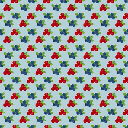 cranberry illustration: Cranberry and blueberry seamless pattern . Or illustration of cowberry and blueberry. Berries seamless pattern.