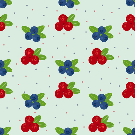 cranberry illustration: Cranberry and blueberry seamless pattern . Or illustration of cowberry and  blueberry . Berries seamless pattern.