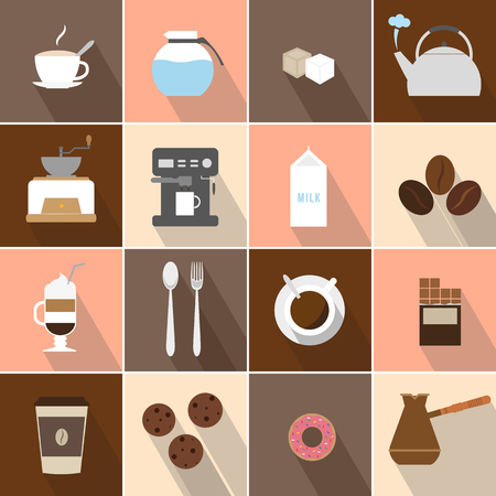 bar ware: Flat design coffee icons set. Flat illustrations of icons on coffee subjects. Preparation of coffee. Having a snack Illustration