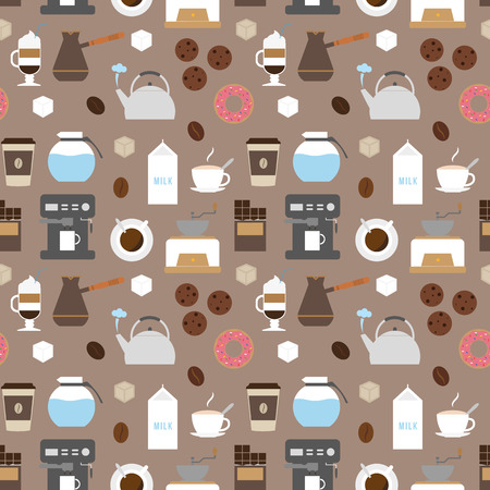 delicacy: Coffee flat icons seamless pattern. Flat icons illustrations of making coffee. Coffee delicacy. Coffee break icons set.