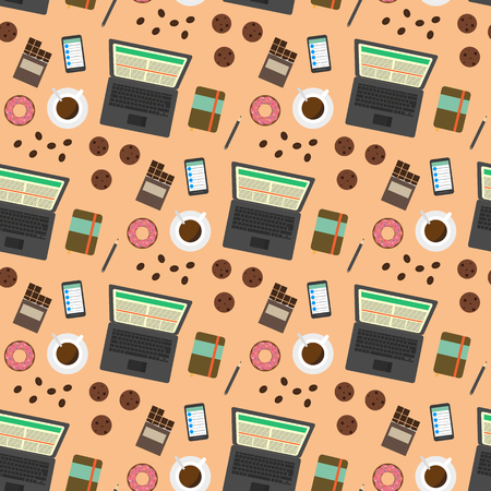 delicacy: Coffee break seamless pattern. Top view. Flat illustrations of coffee delicacy and working tools for creative people. Business concept for freelance and outsource work during a coffee break. Illustration