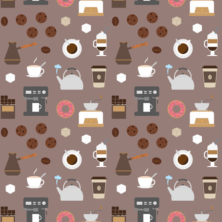 delicacy: Coffee flat icons seamless pattern 2. Flat icons illustrations of making coffee. Coffee delicacy. Coffee break icons set. Illustration