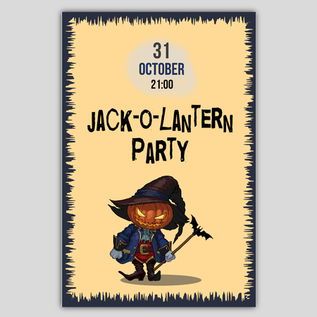Halloween character Jack-o-lantern in a hat and carnival medieval costume in vector illustration. Design for flyer or invitation card