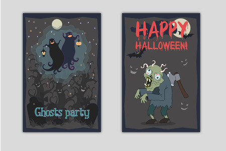 First flyer is vector illustration of two dancing funny ghosts with small lanterns in hands on a cemetery. Second flyer is vector illustration of zombie with axe in his back and worms in brain Illustration