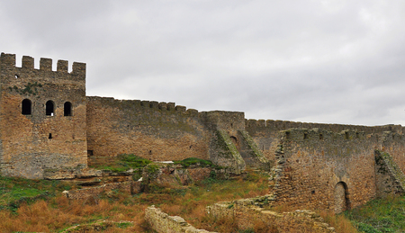 fortified: The ruins of the stone walls of the internal structures of the castle Stock Photo