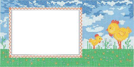 cross stitch: Easter card with imitation cross stitch Stock Photo