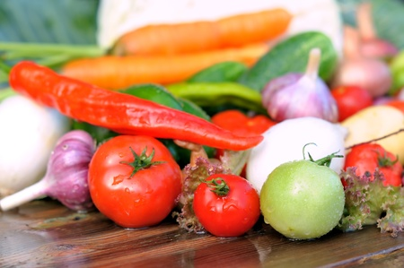 Vegetables on the table.  Fresh vegetables. photo